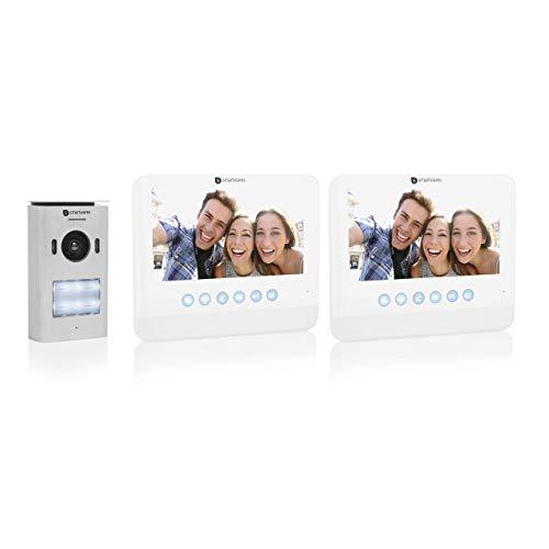 """Sistema de videoportero Smartwares DIC-22222, 720p HD, Monitor LCD de 7"""" (17,8 cm), Cámara orientable, Función de grabación automática, Visión nocturna, Resistente al agua, Kit para dos viviendas"""