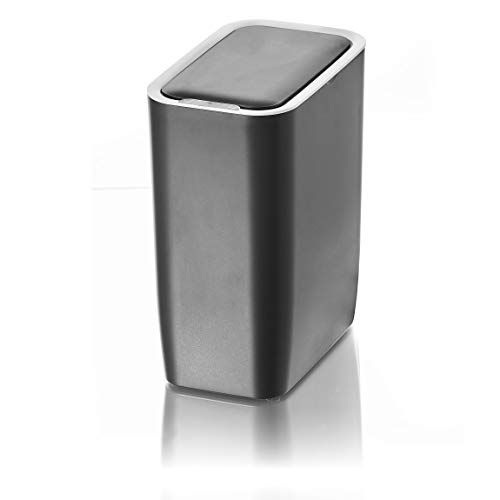 AMARE Automatischer Sensor Kosmetikeimer, Mülleimer mit 9 L Volumen, rechteckig in Grau, ca. 25 x 15,5 x 30 cm