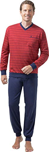 hajo Pyjama Schlafanzug 50051 Klima Light rot oder blau gestreift, Farbe:Rot, Größe:L