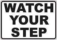 あなたのステップを見てください。金属スズサイン通知通りの交通危険警告耐久性、防水性、防錆性