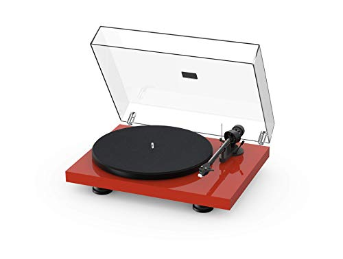 Pro-Ject Debut Carbon EVO, Audiophile Turntable with Carbon Fiber tonearm, Electronic Speed Selection and pre-Mounted Sumiko Rainier Phono Cartridge (High Gloss Red)