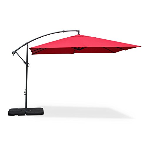 Alice's Garden Parasol déporté carré 3x3m - Hardelot 3x3m - Rouge - Manivelle Anti-Retour | Toile déperlante | Facile à Utiliser