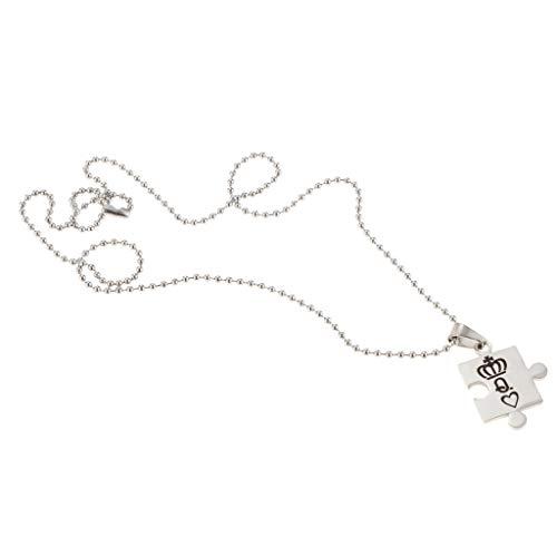 chiwanji Edelstahl König Königin Krone Paar Passende Puzzle Anhänger Halskette - Silber Q