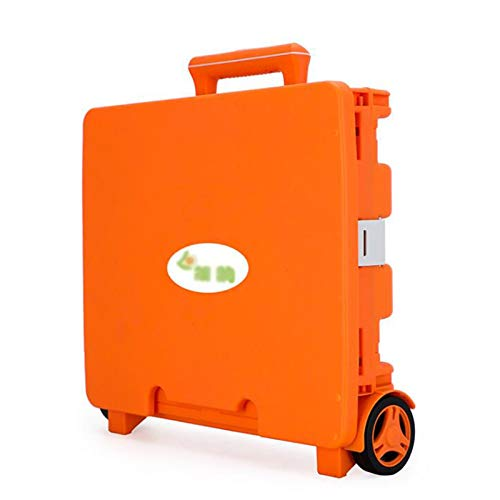 WPW Foldable Shopping Trolley Box with Adjustable Aluminum Alloy Handle Folding Cart Trolley Pack Shopping Trolley Foldable Luggage Trolley Carrying Capacity of 48 Liters (Color : Orange)