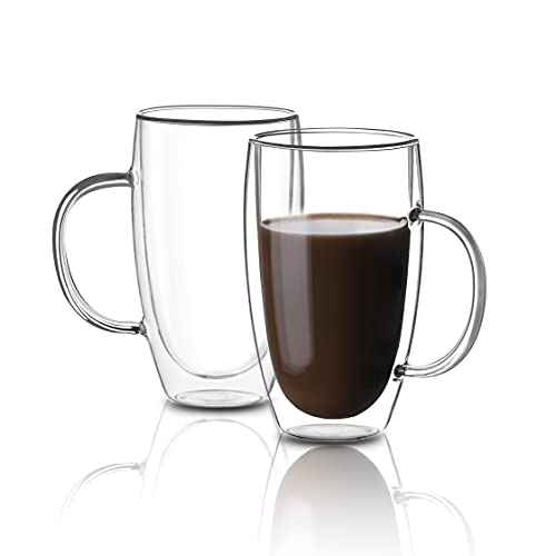 [2-Pack,15 Ounce] Zoneyila Clear Glass Coffee Mugs - 450 ml Double Walled Insulated Mugs with Handle, Perfect for Latte, Espresso, Latte, Cappuccino, Set of 2