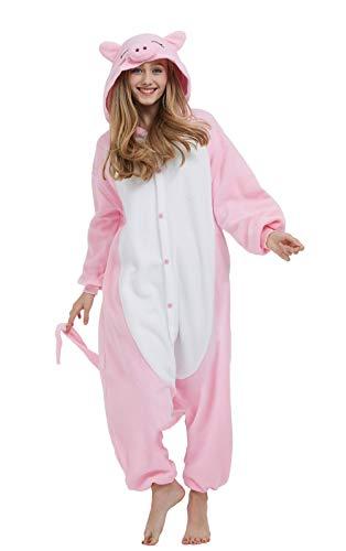 DELEY Unisex Erwachsene Tieroutfit Pyjamas Schlafanzug Cosplay Verkleiden Kostüme OneSize Jumpsuit Tierkostüme