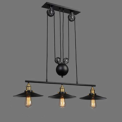 Unbekannt HSB Industrie Jahrgang Kronleuchter Pulley hängende Beleuchtung-Befestigung for Billiardtisch Farmhouse Kitchen Island Bar Retro Hängelampe 3-Lichter Retractable
