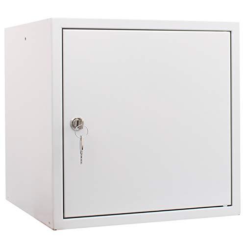 newpo Schließfachwürfel | HxBxT 35 x 35 x 35 cm | Grau | Garderobe Schließfach Schließfachschrank Schließwürfel Spind Umkleideschrank Wertsachenschrank