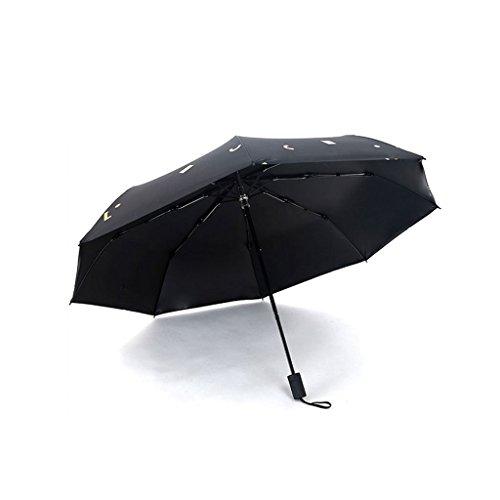 XiuHUa Compacte Reisparaplu-paraplu voor dames, regenkant, parasol, vouwparaplu zonnescherm anti-uv, zwarte paraplustandaard