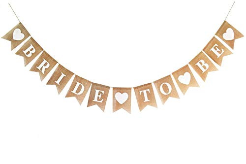 Brcohco Burlap BRIDE TO BE Banner, Bridal Shower/Wedding/Engagement/Anniversary Rustic Bunting Garland Decoration Party Décor Supplies