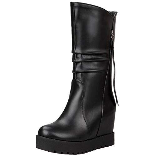 Smilice Damen Keilabsatz Langschaft Stiefel (Schwarz, 40 EU)