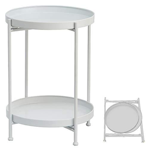 TZAMLI - Tavolino da salotto in metallo, rotondo, con vassoio estraibile e ripiano, pieghevole, piccolo per soggiorno, camera da letto, bianco, 40 x 50 cm