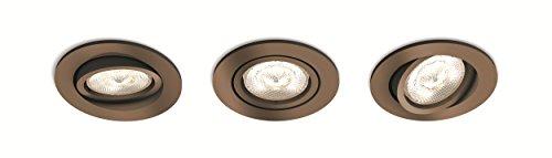 Philips myLiving Shellbark Spot encastrable rond avec 3 ampoules LED GU10 4,5 W intégrées Cuivre