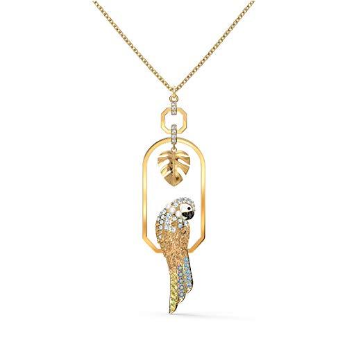 Swarovski Tropical Parrot Halskette, Vergoldete Damenhalskette mit Schaukelndem Papagei unter Einem Edlen Blatt-Motiv