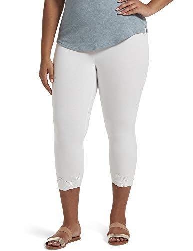 HUE Women's Plus Size Fashion Cotton Capri Leggings, Assorted, White - Embroidered, 1X