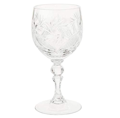 HJQL Set Of 6 Russian Crystal Wine Glasses,With 250Ml Stem,Handmade,Classic Style
