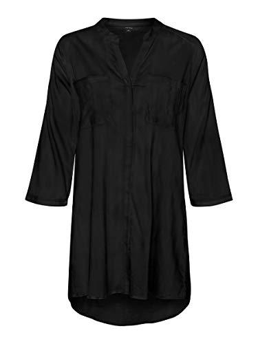 VERO MODA Damen VMERIKA 3/4 Tunic Color Tunika-Shirt, Black, S