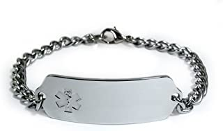 DIALYSIS PATIENT Medical ID Alert Bracelet with Embossed emblem from stainless steel. Style: Classic wide, premium series.