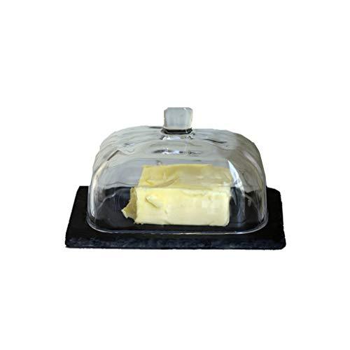 Recipiente para mantequilla Plato de mantequilla con la tapa - japonesa del estilo del vidrio de contenedor de cocina, manteca de Pasta Plato del condimento del plato vajilla de cocina Suministros - N