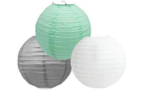 """Linternas de papel de colores mezclados de 3 farolillos redondos de papel para decoración de fiestas (sombra gris menta, 4"""" (10 cm)"""