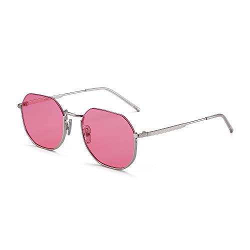 GLINDAR Gafas de Sol Cuadradas Pequeñas Para Hombres Mujeres Polígono Lentes Planas Montura Metálica Rosa