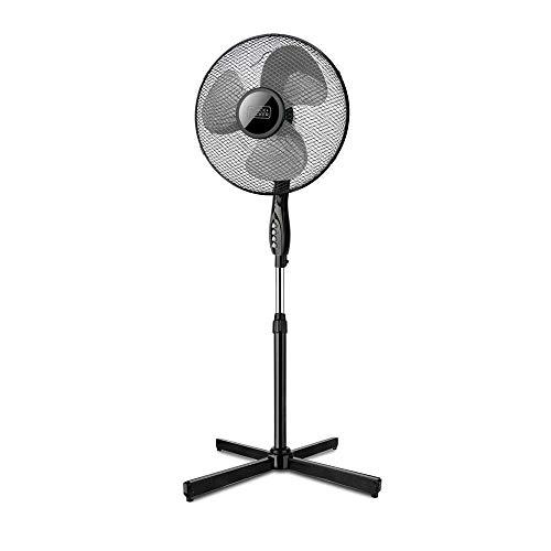 Black + Decker – BXEFP41E. Ventilateur sur pied. Base croisée. Design élégant. Système automatique d'oscillation / Inclinaison et hauteur réglables. 3 hélices