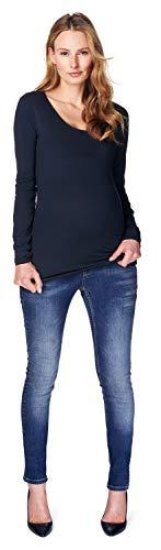 Noppies tee Round Neck LS Amsterdam Camiseta de Manga Larga, Azul Oscuro, 44 para Mujer