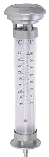 SIDCO LED Thermometer Solar Licht Außenthermometer Gartenthermometer beleuchtet