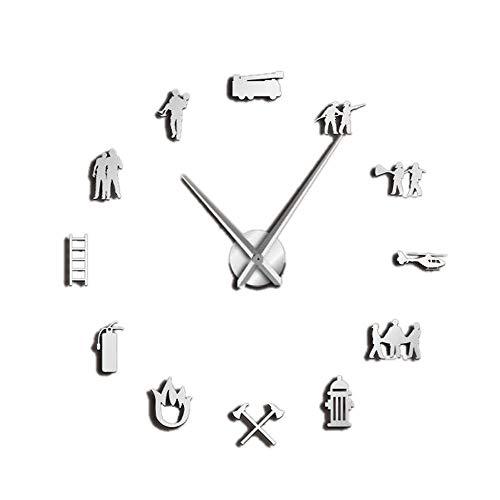 Haudang - Reloj de pared gigante para bomberos, oficina, bomberos, rescate, hacha voluntaria, equipo hidratante, color plateado