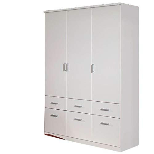 Kleiderschrank weiß 3 Türen B 136 cm Kinderzimmer Jugendzimmer Schlafzimmer Gästezimmer Drehtürenschrank Wäscheschrank