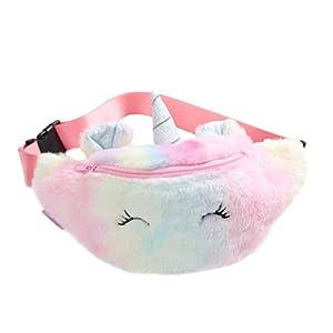 VALICLUD Unicornio Riñonera al ras Riñonera borrosa para niñas y niños Bolso de hombro con efecto tie dye