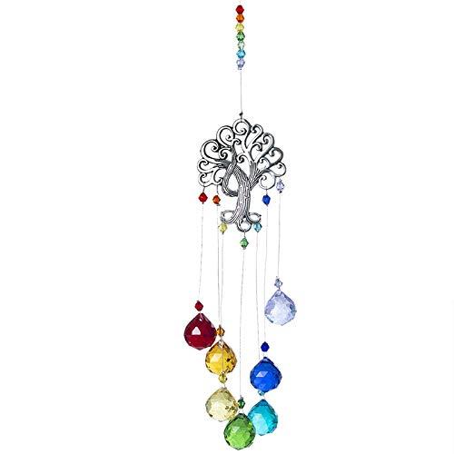 YSMLL Crystal Chakra Colores Bolas Prisma árbol de la Vida Ventana Colgante Colgante Arco Iris Navidad casa decoración (Color : A)