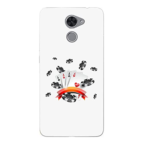 Funda Carcasa Compatible con Huawei Nova Lite Plus Juego de póquer Tarjetas con Peces/Imprimir también en los Lados. / Teléfono Hard Snap en Antideslizante Anti-Rayado Resistente a los Golpes rí