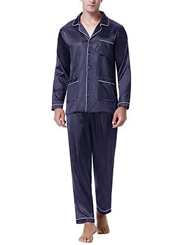 NA Herren Schlafanzug Satin Lang Pyjama Set Zweiteiliger Nachtwäsche Langarm Shirt und Pyjamahose Loungewear Hausanzug Marineblau M