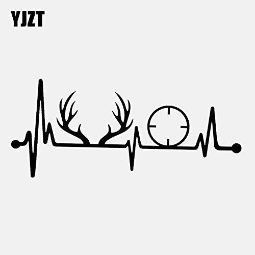 JYIP 17.8CM*7.7CM Deer Rack Antlers Gun Heartbeat Vinyl Black/Silver Car Sticker C22-1290 Silver