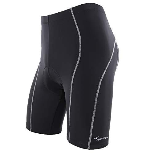 Sportneer Calzoncini Corti per Uomo per Biking Bicicletta Pantaloni 4D Coolmax, Comfort, Design Antiscivolo, Traspiranti e Assorbenti (Blu, XL)