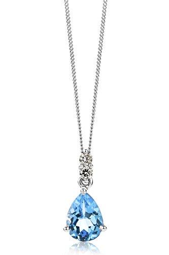 Miore Kette Damen 0.06 Ct Diamant Halskette mit tropfen Anhänger Edelstein/Geburtsstein Topas in blau Kette aus Weißgold 9 Karat / 375 Gold, Halsschmuck mit Diamanten Brillanten 45 cm lang
