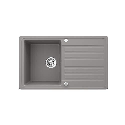 Bergström Granitspüle 760x460mm inkl. Siphon Küchenspüle Einbauspüle reversibel (Beton)