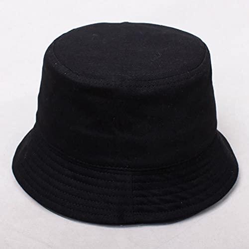 Sombrero Pescador Gorras Hombre Mujer Sombrero De Algodón Sombrero De Parasol Sombrero De Pescador Gorras De Color Puro Sombreros De Cubo para El Sol 48-52Cm-Negro