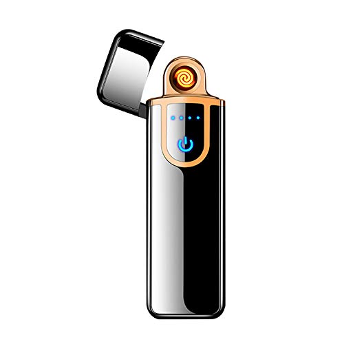 LED Touch Sensing Switch Double-Sided Lighter Windproof Flameless Electronic Cigar Cigarette No Gas USB Charging Electric Lighters (Black)