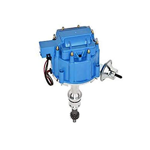 A-Team Performance HEI Complete Distributor 65K Coil, 8 Cylinders, Small Block Compatible With Ford 260 289 302 5.0 V8 One-Wire Installation, Blue Cap