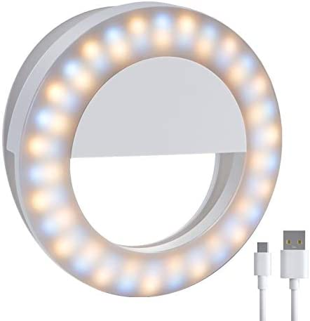 Meifigno Upgraded Selfie Ring Light,[3 Light Modes] [Rechargeable] with Double Row 60 LED Lights, 4-Level Clips On Mini Small Circle Light Compatible with iPhone 11 12 Pro X Xr Xs Max 7 8 iPad Laptop