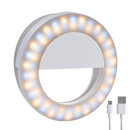 Meifigno Upgraded Selfie Ring Light,[3 Light Modes] [Rechargeable] with Double Row 60 LED Lights, 4-Level Brightness Clips On Mini Circle Light for iPhone 11 12 Pro X Xr Xs Max 7 8 Plus iPad Laptop