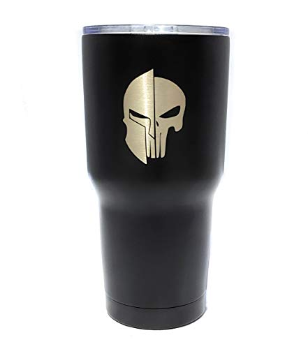 30 oz Stainless Steel Vacuum Insulated Tumbler with Lid - Double Wall Travel Mug Water Coffee Cup for Ice Drink & Hot Beverage, Punisher Spartan Skull Laser Engraved