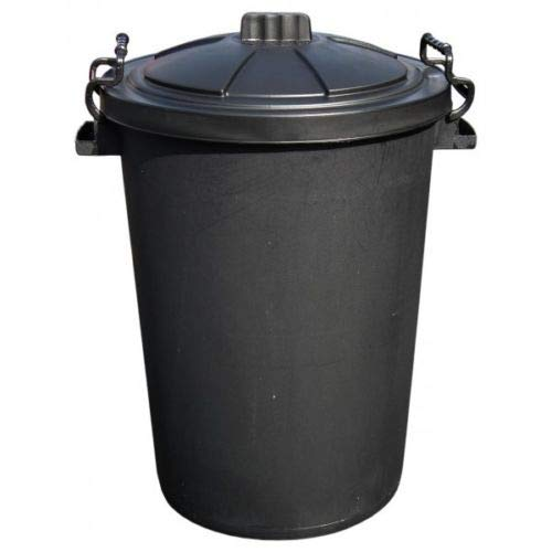 Srendi Small/Medium/Large Black Plastic Bin Heavy Duty Refuse Bin With Lockable Lid Ideal for Outdoor/Rubbish/Waste/Dustbin/Animal Feed (Medium 85Litre)