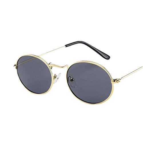 NINGSANJIN - Gafas de sol ovaladas estilo retro vintage Ellipse gafas de marco de metal Trendy Fashion Shades (A, D)