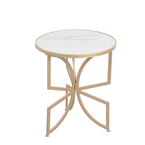 C-S-Qing-Desk Marble Bar Table, Creativity Metal Small Round Table Cafe Open Air Restaurant Office Sofa Side Coffee Table(Size:50 * 50 * 58CM,Color:White)