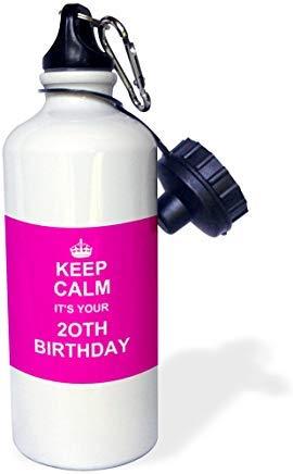 GFGKKGJFD624 - Botella de agua deportiva de aluminio, diseño con texto en inglés 'Keep Calm It's Your th Birthday-Hot Pink Girly Girls Fun Stay Calm About Turning Twenty Decady', divertida para hombres, mujeres, niños, regalos de Navidad