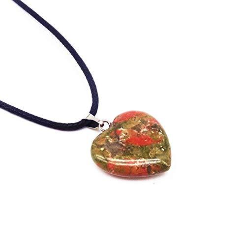 YUNGYE Regalo Collar de Grano de la Piedra del corazón Encanto de la Manera Negro Alambre de la Cuerda de la Cuerda de la Cadena de Lava Opal Onyx Jaspers amatistas Jades Etc (Metal Color : Un