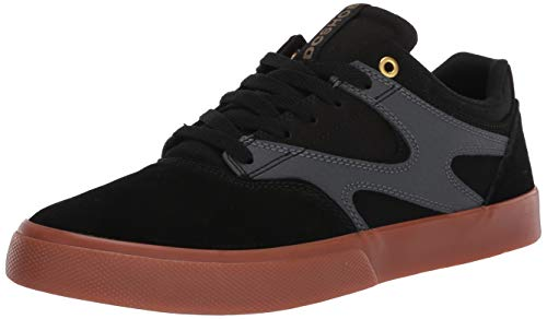 DC Men's Kalis Vulc Skate Shoe, Black/Grey, 10 D M US